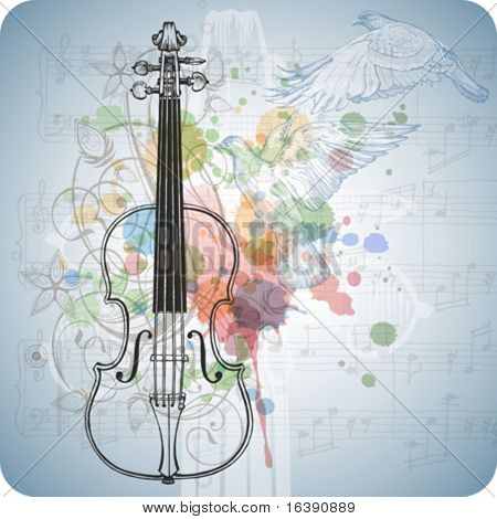 Violin, music sheets, flying doves on the color paint background of stylized ornament &  orchid flowers