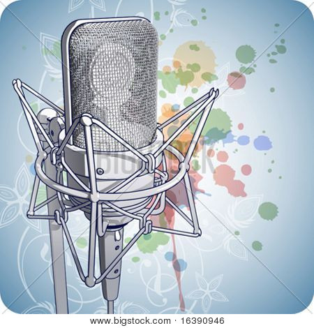 Professional Microphone & Floral calligraphy ornament - a stylized orchid & color paint background. Eps10