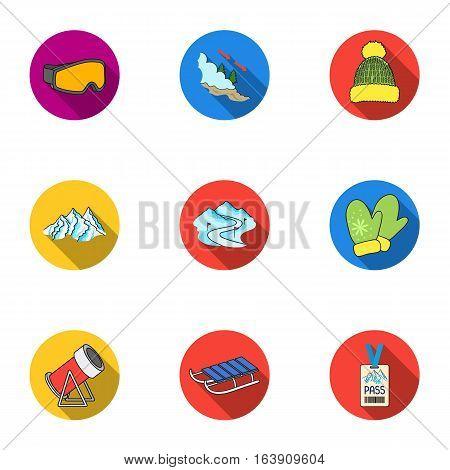 Ski resort set icons in flat style. Big collection of ski resort vector symbol stock