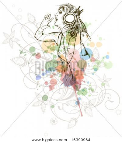 DJ girl & music colors mix - floral calligraphy ornament - a stylized orchid, color paint background