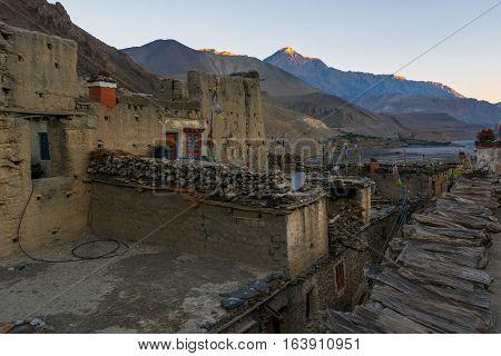 Morning view of Kagbeni village. Kali Gandaki river flowing from Mustang region.