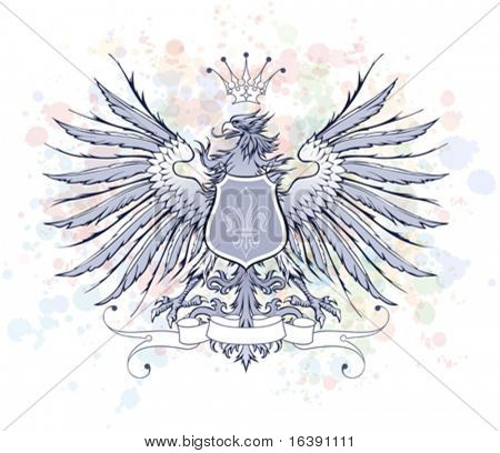 Vintage heraldic emblem ( eagle, crown & ribbon, shield & lily ) - color paint background