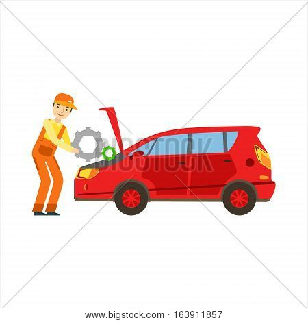 Smiling Mechanic Repairing The Engine In The Garage, Car Repair Workshop Service Illustration. Cartoon Male Character In Dungarees Working In Auto Repair Shop.
