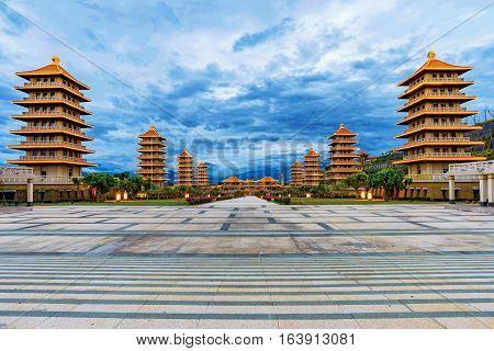 Beautiful evening view of Fo Guang Shan Buddha memorial center