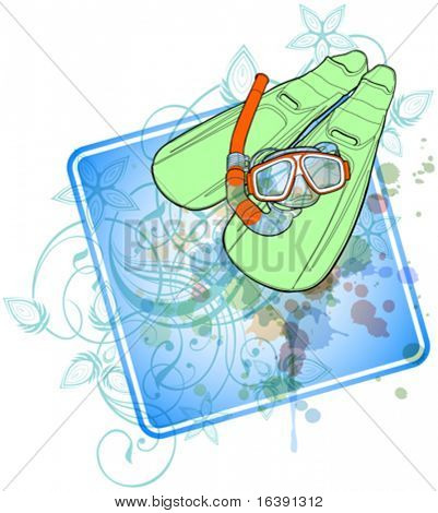 set of diving - flippers and a mask with a tube & floral calligraphy ornament - a stylized orchid, color paint background