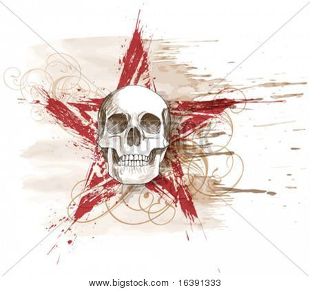 Skull sketch & red grunge star, floral calligraphy ornament, watercolor background