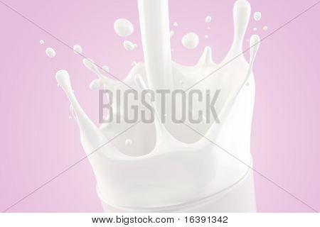 Splashing milk in a glass on a light pink background