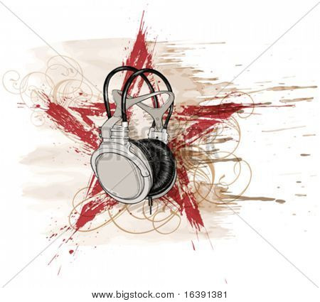 headphones, red grunge star & floral calligraphy ornament, watercolor background
