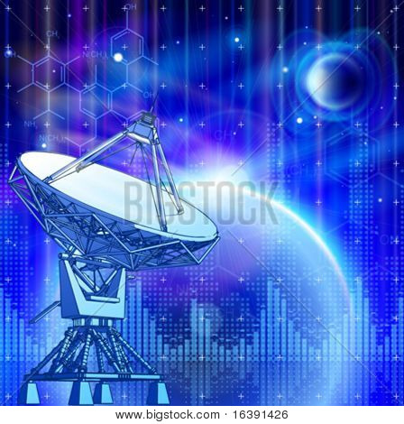 satellite dishes antenna - doppler radar, blue planets, electromagnetic waves & chemical formulas - technology background