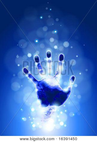 handprint & blue bokeh abstract light background. Vector illustration / eps10