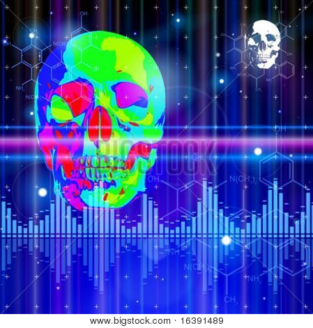 Thermal image of the human skull, blue technology background, lights, chemical formulas & digital wave