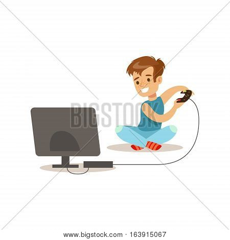Boy Playing Console Video Games, Traditional Male Kid Role Expected Classic Behavior Illustration. Part Of Series With Smiling Teenage Boys And Their Interests Vector Characters.