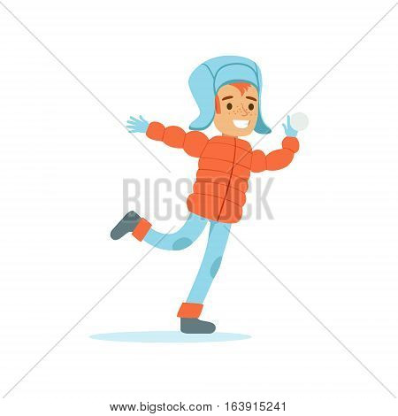 Boy Playing Snowballs, Traditional Male Kid Role Expected Classic Behavior Illustration. Part Of Series With Smiling Teenage Boys And Their Interests Vector Characters.