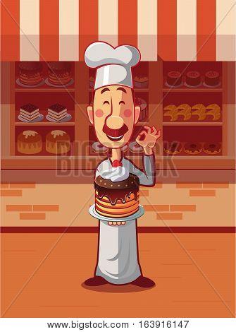 Baker hold cake on plate. Presentation new cake near bakery. Vector illustration.