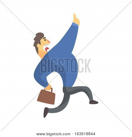 Businessman Top Manager In A Suit Running Screaming, Office Job Situation Illustration. Funny Male Character Working In Business Financial Sphere Flat Cartoon Character.