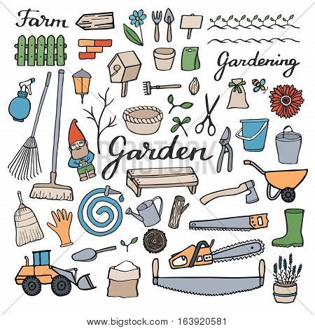 Gardening icons set. Hand-drawn cartoon collection of garden and farm tools and objects. Doodle drawing. Vector illustration