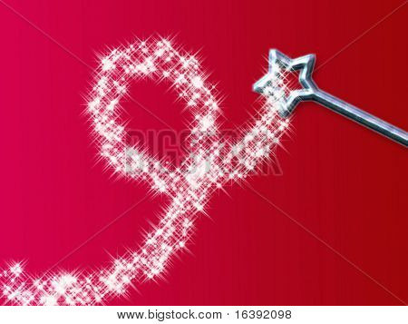 magic wand with stars on red background