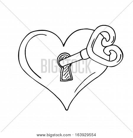 Heart-shaped lock with key on white background