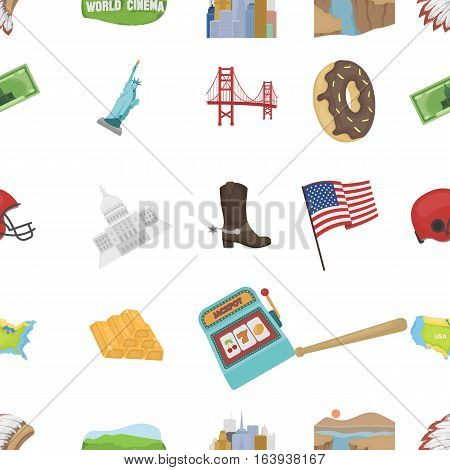 USA country pattern icons in cartoon style. Big collection of USA country vector symbol stock