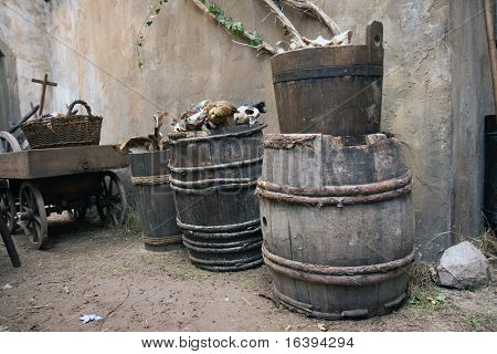 the old barrels with bones