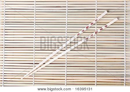 chopsticks on bamboo place mats