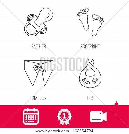 Achievement and video cam signs. Pacifier, diapers and footprint icons. Dirty bib linear sign. Calendar icon. Vector