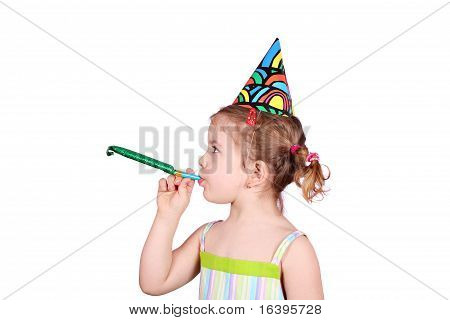 little girl with birthday hat