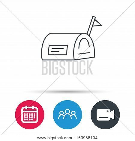 Mailbox with flag icon. Post email box sign. Group of people, video cam and calendar icons. Vector