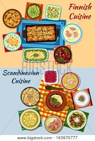 Scandinavian and finnish cuisine icons with salmon soups and baked steaks, meat and fish stew, fish and liver salad, mushroom, pea and rice soups, roe sandwich, herring forshmak