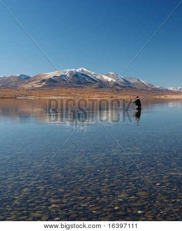 Fishing at a mountain lake