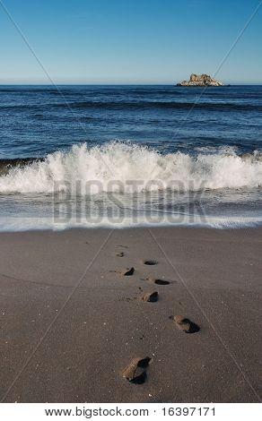 Spuren an einem Meer-sand