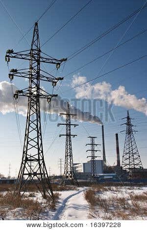 Electric power station with smokestack