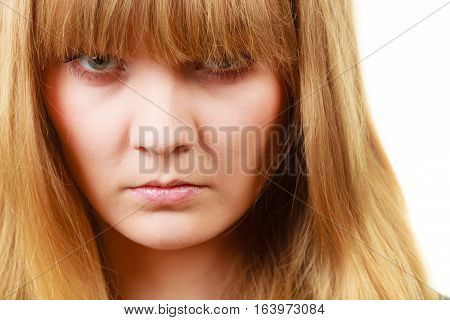 Angry Looking Woman, Face Covered In Fringe