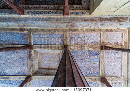 Wooden columns of Chehel Sotoun pavilion in Isfahan city Iran
