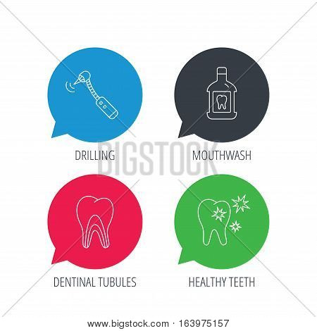 Colored speech bubbles. Tooth, mouthwash and dentinal tubules icons. Healthy teeth, dentinal tubules linear sign. Flat web buttons with linear icons. Vector