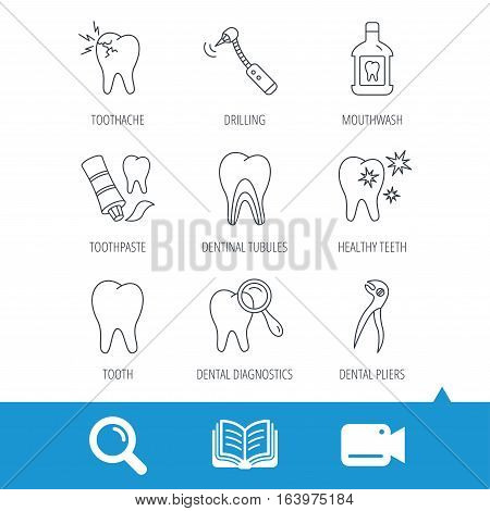 Tooth, stomatology and toothache icons. Mouthwash, dental pliers and diagnostics linear signs. Dentinal tubules, drilling icons. Video cam, book and magnifier search icons. Vector