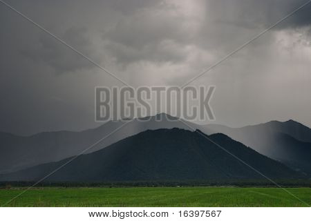 Cloudburst in mountains