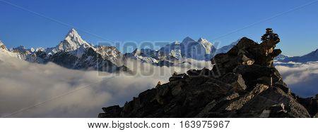 View from Kala Patthar Everest national park. Peak of Ama Dablam.