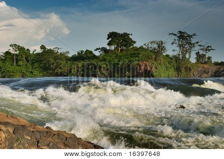 Violent rapid Bujagali falls in upper of Nile