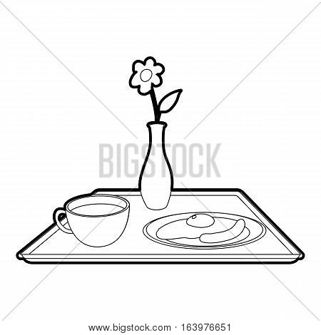 Breakfast in bed icon. Outline illustration of breakfast in bed vector icon for web