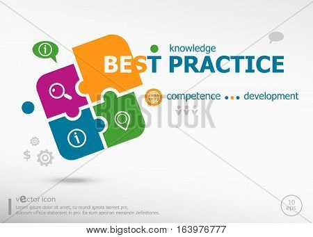 Best Practice Word Cloud On Colorful Jigsaw Puzzle.