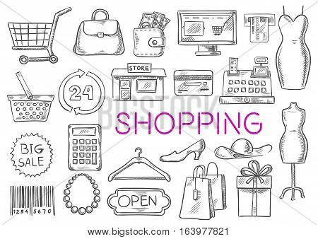 Shopping icons set. Vector isolated sketch line shopping items of shopping basket, money purse bag, shop counter, dress, atm bank, credit card, store, discount label, price tag, barcode, clothes hanger, shoes, shopping gift box. Fashion items