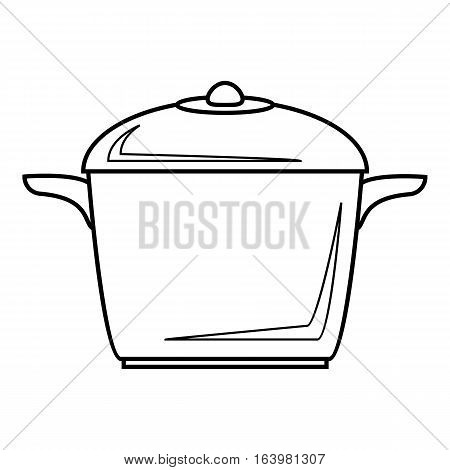 Enameled pot icon. Outline illustration of enameled pot vector icon for web