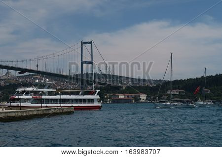 Bosphorus Bridge with background of Bosphorus strait on a sunny day with background cloudy blue sky and blue sea in Istanbul, Turkey. Blue Turkey concept.