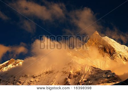 Colorful sunset in Himalaya