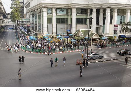 BANGKOK THAILAND - DEC 31 : Ratchaprasong Junction at Erawan shrine corner while new year festival on december 31 2016 thailand. Ratchaprasong is most activities area of Bangkok