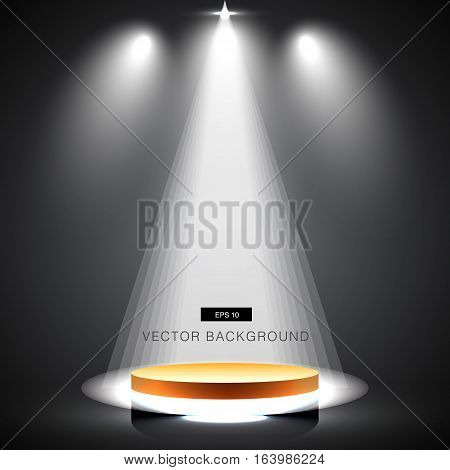 gold stage with spotlight black background vector