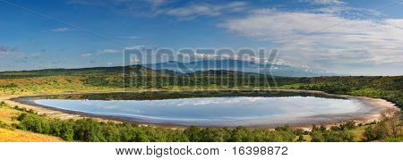 Lake in african savanna, Queen Elizabeth N.P., Uganda