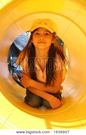 Girl In Yellow Tunnel
