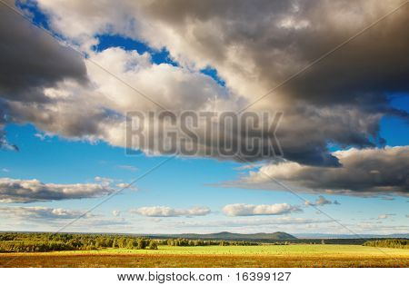 Landscape with cloudy sky, forest and hayfield